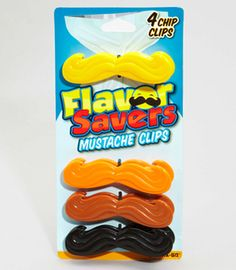 Flavor Saver Mustache Clips http://www.fredflare.com/APARTMENT-kitchen-and-bar/Flavor-Saver-Mustache-Clips/#