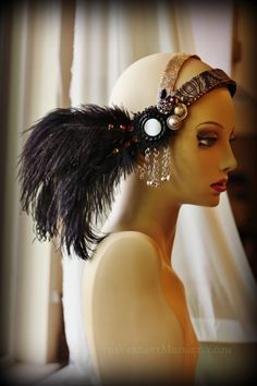 Tribal Fusion Headdress- Odile- Belly Dance Headpiece Flapper Long Black Ostrich Feather Cruelty Free Performance Festival