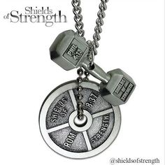 Perfect for female fitness enthusiasts, Shields of Strength's fitness jewelry provides an alternative to traditional Christian jewelry. These women's antique finish dumbbell and weight plate necklaces