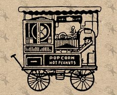 Vintage retro Popcorn carriage drawing Digital printable Instant Download black and white graphic - iron on transfer burlap fabric HQ300dpi by UnoPrint on Etsy