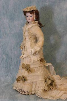 "Antique All Original 17"" Jumeau French Fashion Doll c.1870 DRESS, SLIP, Jewelry"
