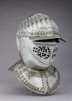 Close Hemet Date:ca. 1630 Culture:probably Flemish Medium:Steel, copper alloy Dimensions:H. 10 in cm); g) Classification:Helmets Credit Line:Rogers Fund, 1909 Accession Knight In Shining Armor, Knight Armor, Crusader Helmet, Neck Bones, Armor Clothing, Early Modern Period, Knights Helmet, Medieval Armor, Medieval Knight