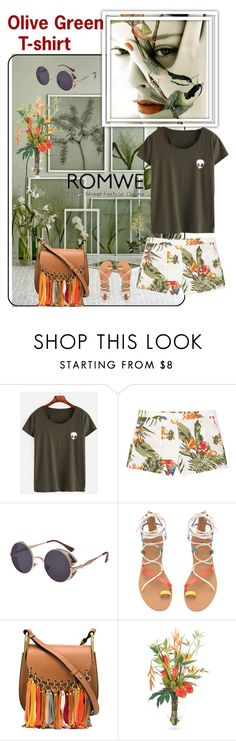 """Romwe: Bird of Paradise Short on Olive Green T-Shirt"" by ester-ludwig ❤ liked on Polyvore featuring MANGO, Chloé and NDI"