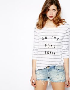 French Connection Striped T-Shirt with On The Road Again Print