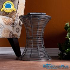 Silver Round Metal Iron Accent End Table Indoor Outdoor Furniture.  $69.99