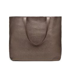 10 Fun Tote Bags We Love-Cute and Colorful Totes for Women-CUYANA CLASSIC LEATHER TOTE-Cuyana's classic tote bag is now available in shimmery bronze.  Get this stylish look and more at redbookmag.com.