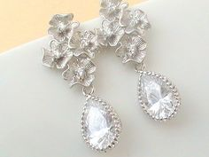 Cubic Zirconia Earrings, Dangle Earrings, Sparkly Eearrings, Teardrop Earrings, Bridal Jewelry Wedding Earrings For Women Maid of Honor Gift
