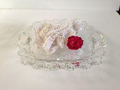 Shallow Pressed Glass Bowl w/ Heart Handles  by EightBoardsFarm, $6.00