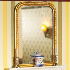 Dollhouse Miniature Extra Large Grand Gold Mirror Round 1:12 Scale