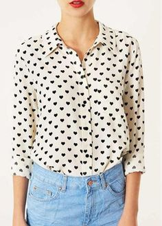 Black Hearts Pattern Long Sleeve Turndown Collar Blouse | Rosewe.com