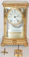 Antique Seth Thomas Empire No 18 Brass Crystal Regulator Clock