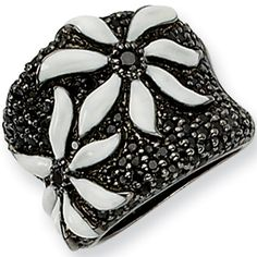 Sterling Silver Black and White Cubic Zirconia Flower Ring by Cheryl M | Body Candy Body Jewelry