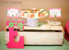 Lil Ladybug Baby Shower | CatchMyParty.com  An H and shamrocks