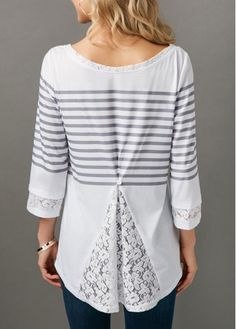 Round Neck Stripe Print Lace Panel Blouse on sale only US$31.11 now, buy cheap Round Neck Stripe Print Lace Panel Blouse at liligal.com