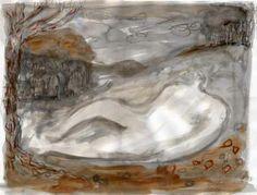 'Landscape Figure 3' by British artist, illustrator & printmaker Melvyn Evans. Painting. via the artist's site
