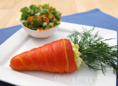 Fun idea for an Easter Brunch - Carrot Crescents Filled with Egg Salad