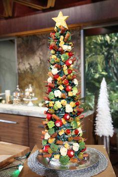Astro Weenie Christmas Tree • Pickles • Olives • Baby Corn • Maraschino Cherries • Carrots Sticks • Celery Sticks • Broccoli • Cauliflower • Radishes • Pineapple Chunks • Grapes • Kumquats • Crab Apples • Donut Holes • Swedish Meatballs • Shrimp • Cheese Chunks • Gummy Bears • Grape tomatoes