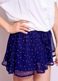 Navy Mid Drawstring Waist Polka Dot Chiffon Shorts