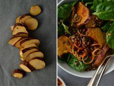 Lentil, crispy sweet potato and paprika salad