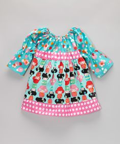 Loving this Aqua & Pink Floral Peasant Dress - Toddler & Girls on #zulily! #zulilyfinds