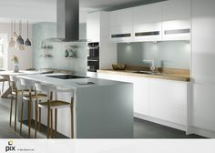 This is a great kitchen layout idea for any home. The island is key providing workspace and a dining area. The pastel trend is a contemporary off shoot of Scandinavian design, layering sea foam green and soft pink, oak and grey tones. White gloss handless kitchen with white corain warp around countertop and mint green glass splashback. Pantone inspired. CGI photography by http://www.setvisionspix.co.uk/