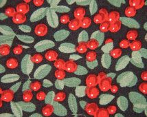 Vintage 1970s Swedish design fabric in highquality unused cotton with red green printed lingonberries pattern on dark green bottomcolor
