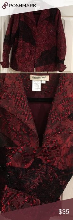 Coldwater Creek Beautiful Blazer This is an open front blazer that is deep burgundy/ red color with black accents(see pic for close up). It is so pretty and in like new condition. Coldwater Creek Jackets & Coats Blazers