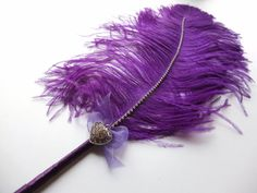 Large Ostrich feather  Pen Purple with heart by LoveMimosaFleur, $29.50