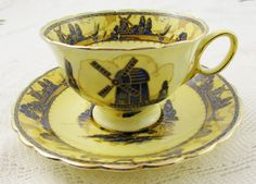 Yellow Tea Cup and Saucer with Blue Windmill by Atlas China, Vintage, English Bone China, Antique Tea Cup