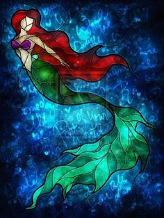 Stained glass Ariel with Little Mermaid lyrics! Beautiful!