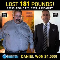 "Holy WOW! This story is a must see. Find out how Daniel Pena lost over 180 lbs... Morbidly obese Daniel eased himself into fitness with #P90X3 workouts just 30 minutes per day. ""There were ways to modify the routine which I did in the beginning. It was great for anyone at any fitness level. I took a chance on the program and it paid off big time. It gave me the courage to try other things like #FocusT25 another great program with a short time commitment. I then had the courage to do the…"