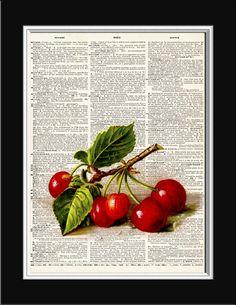 Vintage Art Print CHERRY GOODNESS Dictionary by VintageArtPrint