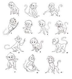 Baby Animal Drawings, Cartoon Drawings Of Animals, Animal Sketches, Cartoon Kids, Cute Drawings, Monkey Art, Cute Monkey, Creature Concept Art, Creature Design