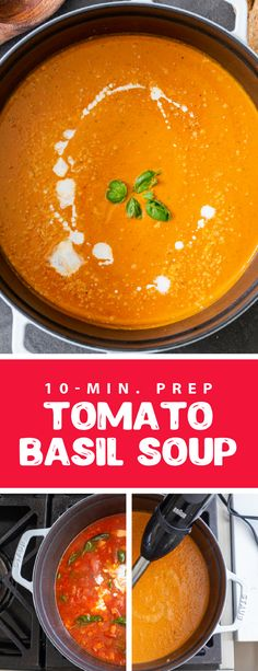 Classic tomato basil soup is the perfect thing to enjoy in the fall and winter. This soup only requires 10 minutes of prep and tastes amazing, it is full of creamy and rich flavors, perfect to enjoy with a slice of grilled cheese. This soup is super easy to make but packed with rich flavors, perfect for busy weekdays. #tomatosoup #tomatobasilsoup 30 Min Meals, Quick Meals, Dinner For 2, Dinner Ideas, Easy Dinner Recipes, Soup Recipes, How To Store Tomatoes, Tomato Basil Soup, Delicious Magazine