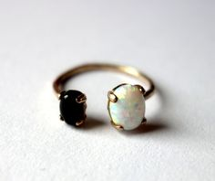 Hey, I found this really awesome Etsy listing at https://www.etsy.com/listing/210027892/bronze-dual-stone-ring-opal-and-onyx