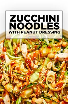 We took our healthy Zucchini Noodles to the next level by adding deli-roasted chicken breast, crunchy peanuts, spicy Sriracha sauce, fresh cucumbers, and tossed it in a delicious Peanut Dressing. Paleo Vegan, Vegetarian, Diet Recipes, Cooking Recipes, Healthy Recipes, Healthy Foods, Tasty Thai, Peanut Dressing, Roasted Chicken Breast