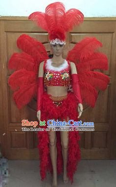 YELLOW Feather Wings,Stage Performance,Dance wear,Drag Queen,Gay Guy-Brazilian Rio Costume.Samba Beads Carnival-Backpack,Headpiece NEW