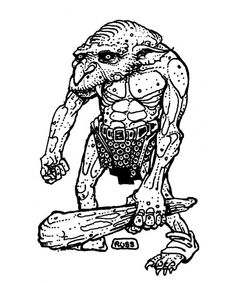 Norkers are distant relatives of hobgoblins with elongated fangs and tough armor-like skin. (Russ Nicholson from the AD&D Field Folio, TSR, 1981.)