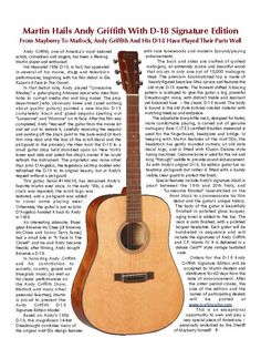 THE UNIQUE GUITAR BLOG: Andy Griffith's Martin D-18 Guitar