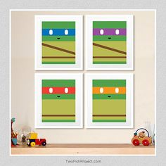 TMNT Teenage Mutant Ninja Turtle posters (Set of 4) by TwoFishProject great way to decorate and celebrate the upcoming release of the new ninja turtle movie. they'd be cute in a nursery or kid's room