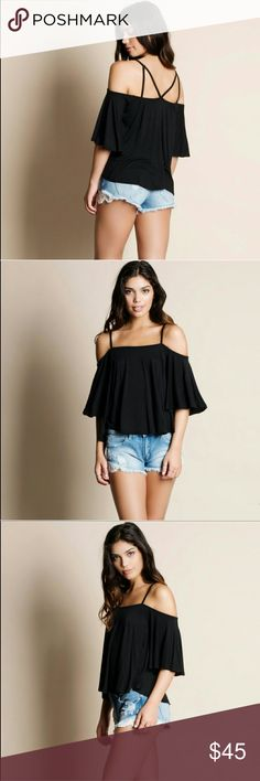 Cold Shoulder Strappy Top Cold shoulder strappy top. Modeling size small. True to size. 95% rayon, 5% spandex Tops Blouses