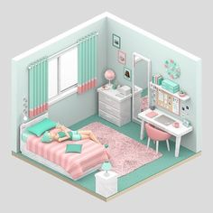 Lulemero is creating isometric art Isometric Art, Isometric Design, Small Room Bedroom, Bedroom Decor, Sims House Design, Casas The Sims 4, Sims Building, Doll House Plans, Hotel Room Design