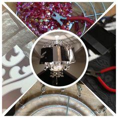 Lamp van behangsamples en glazen pegels