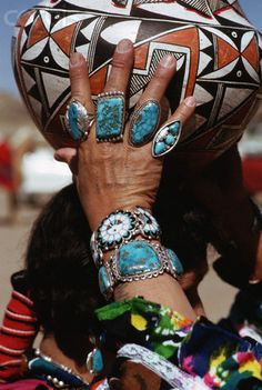 USA | A Zuni woman wears turquoise jewelry in New Mexico | © Charles & Josette Lenars