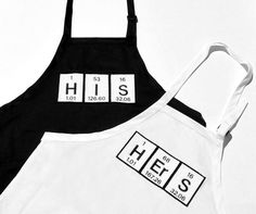 His and Hers Periodic Table Embroidered Adjustable Apron 2 Piece Set