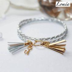 Bracelet multirang doré et argenté en plaqué or gold filled et simili cuir : Bracelet par lomea