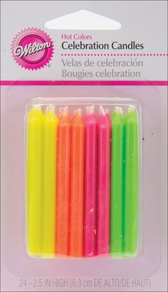 """BIRTHDAY celebration CANDLES- 24ct BOLD COLORS 2.5/"""" multi-colored Wilton"""