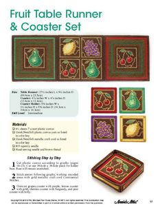 Gorgeous Fruit Table Runner/Coaster Set Pattern in Plastic Canvas by TamarasTraditions on Etsy