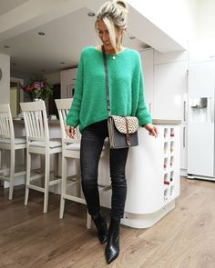 Sweater, skinny jeans and booties | For more style inspiration visit 40plusstyle.com
