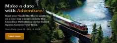 Amazingly, the one-day Agawa Canyon Train Tour is just one of the experiences Sault Ste. Marie has to offer. Train Tour, By Train, Sault Ste Marie, Canada North, Gta, Vacation Ideas, Thunder, Wilderness, Trains